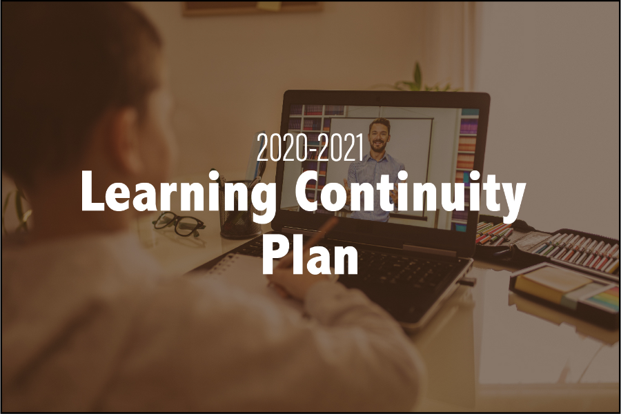 Student at laptop 2020-2021 Learning Continuity Plan.