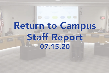 Return to Campus Staff Report 07.15.20 superimposed over board room