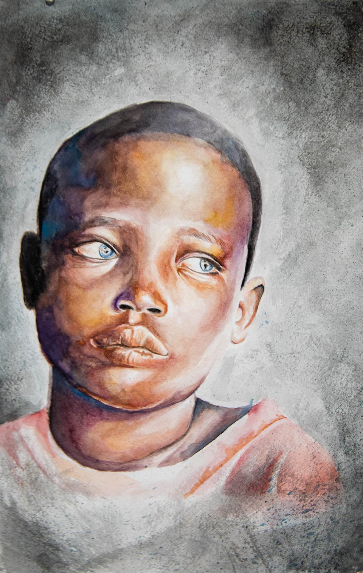 Paiting of Child looking off canvas