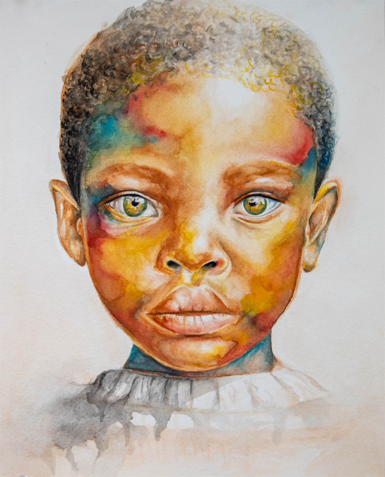 Painting of Child looking straight forward