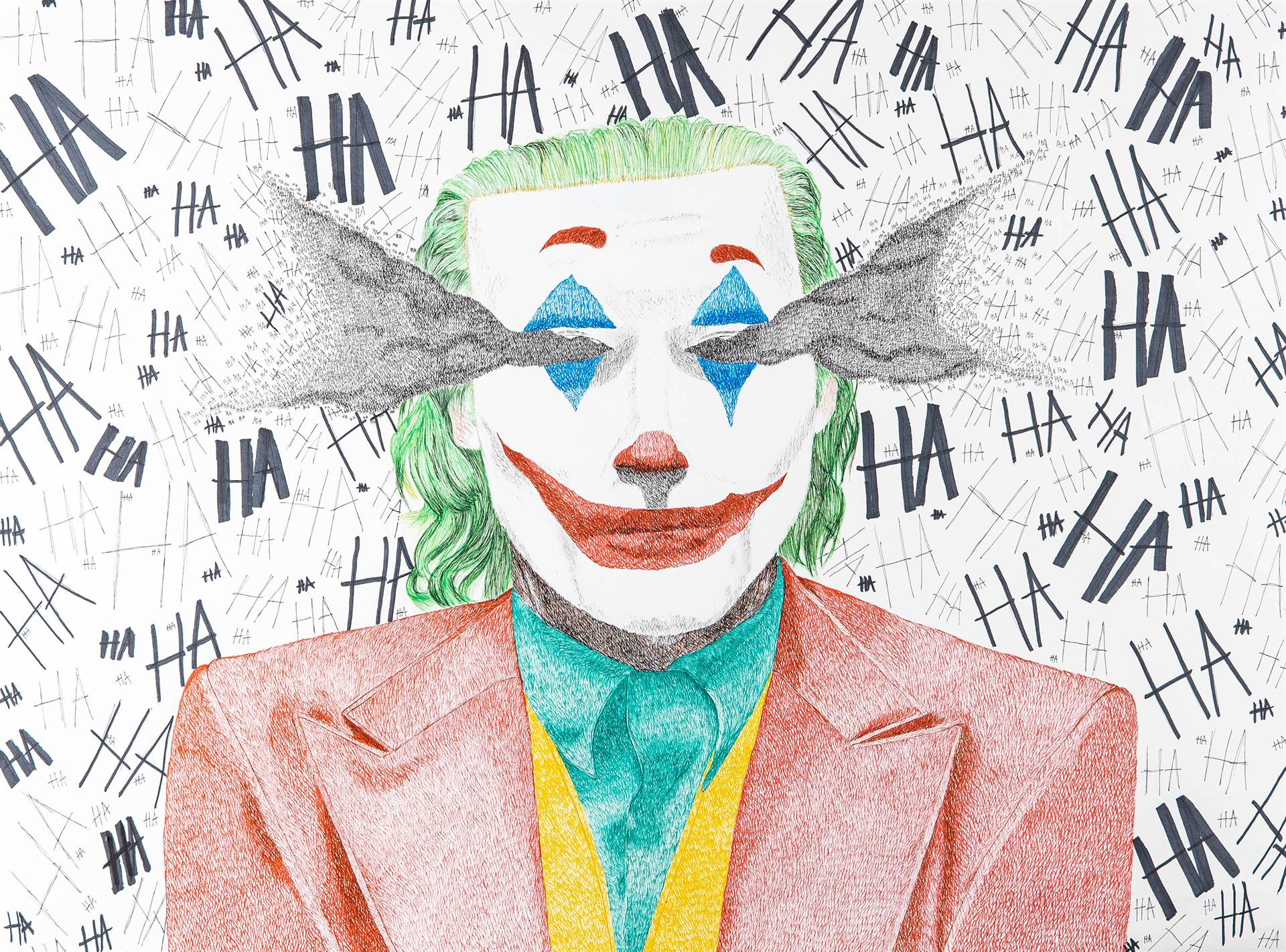 Drawing of the Joker with HA HA