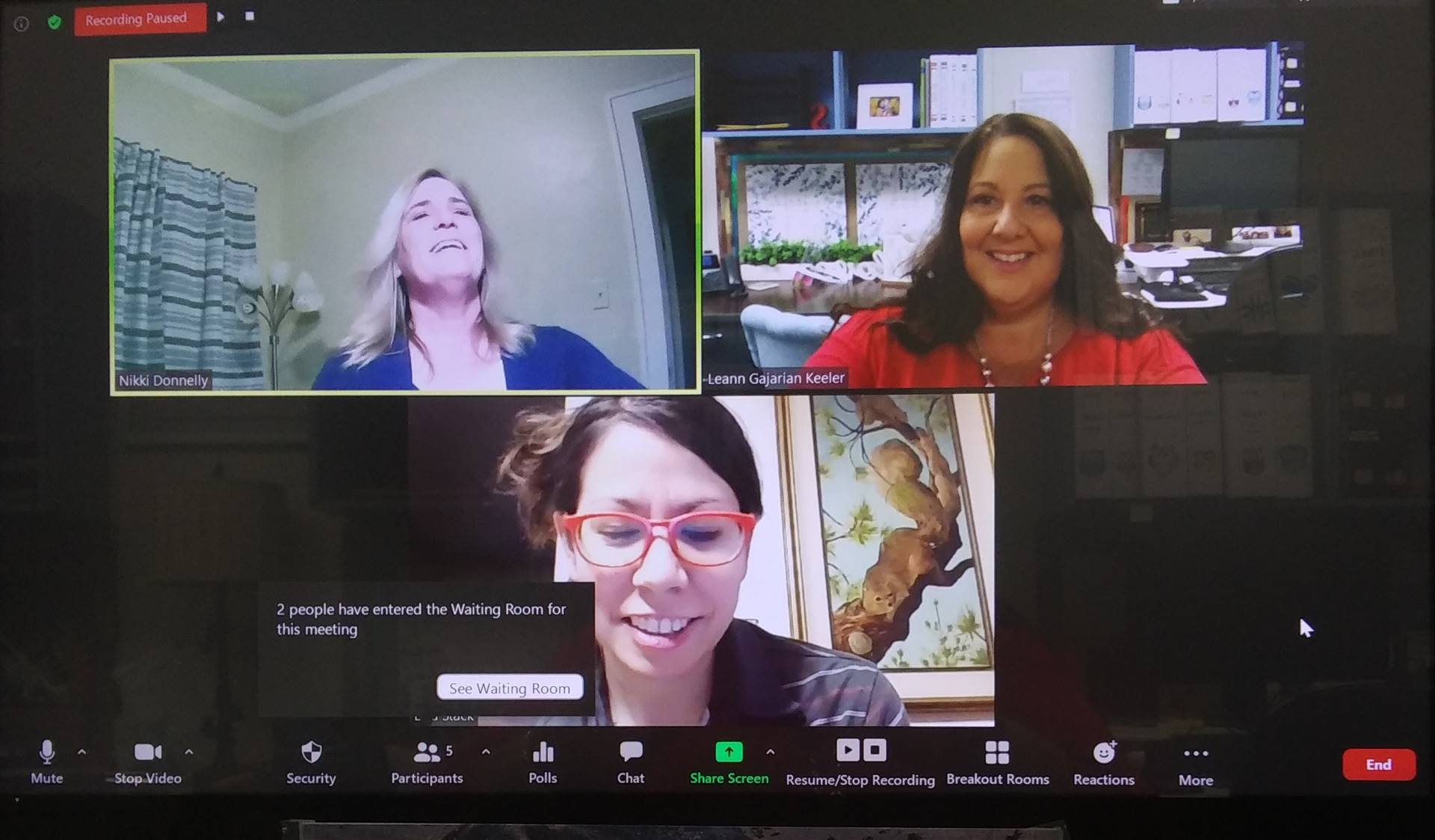 computer screen during Zoom meeting. 3 women smiling