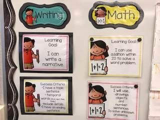 Learning Goal Wall for Writing and Math