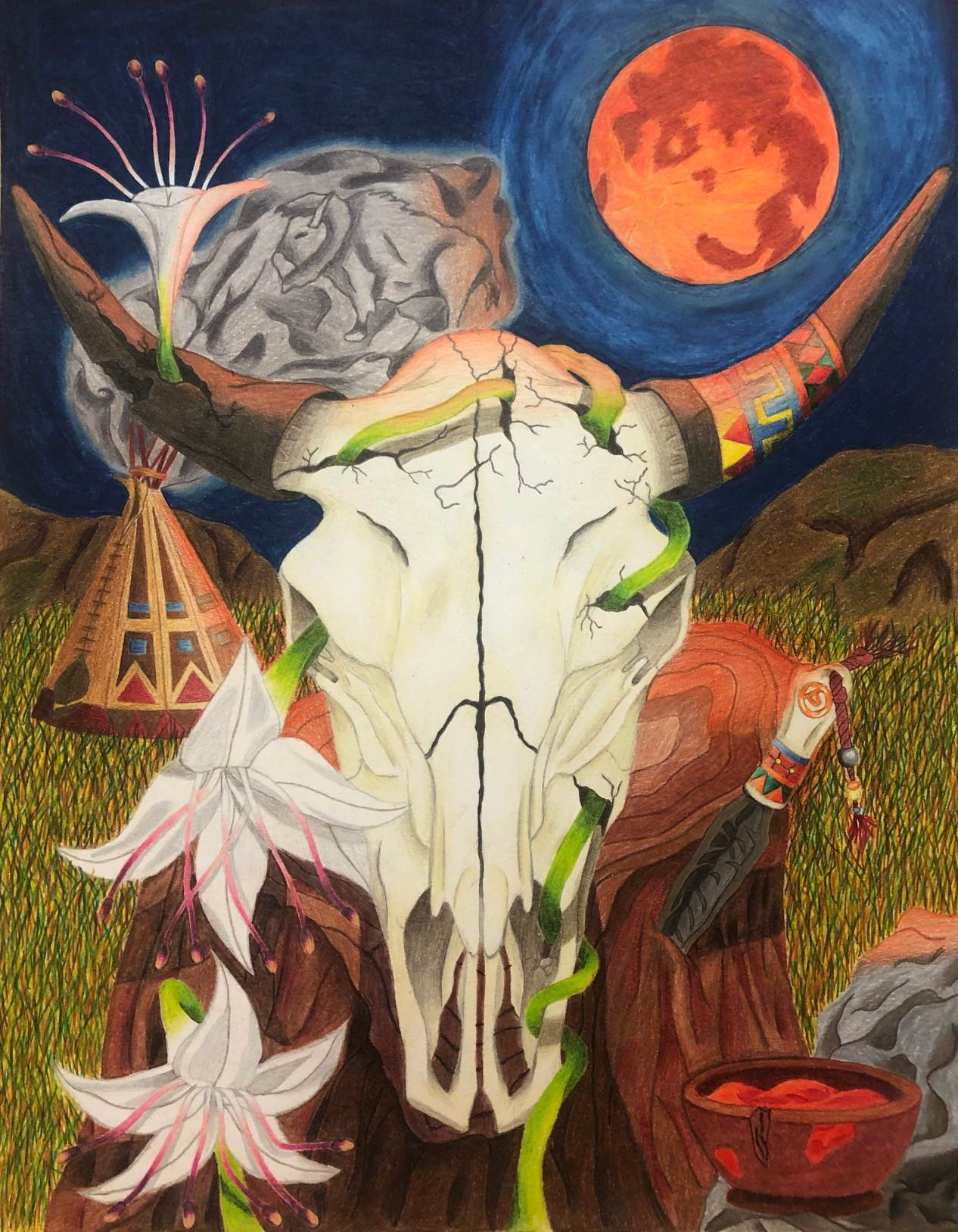 Cows head with moon - Painted
