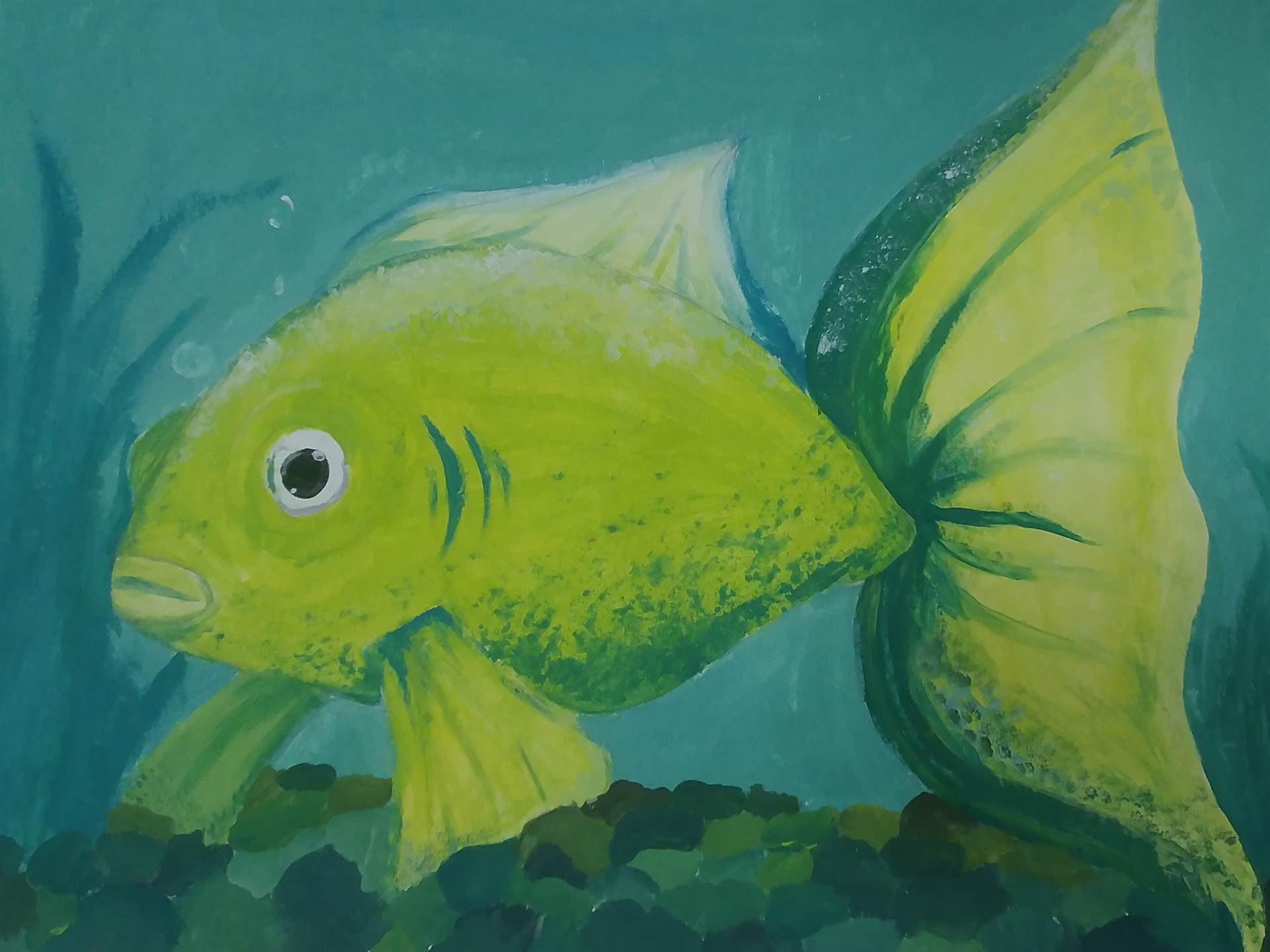 Painting of green fish
