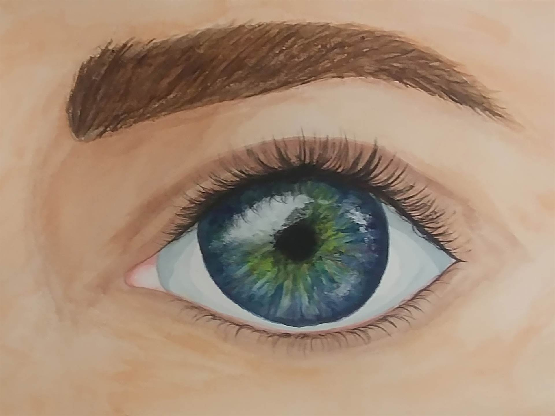 Color painting of eye ball