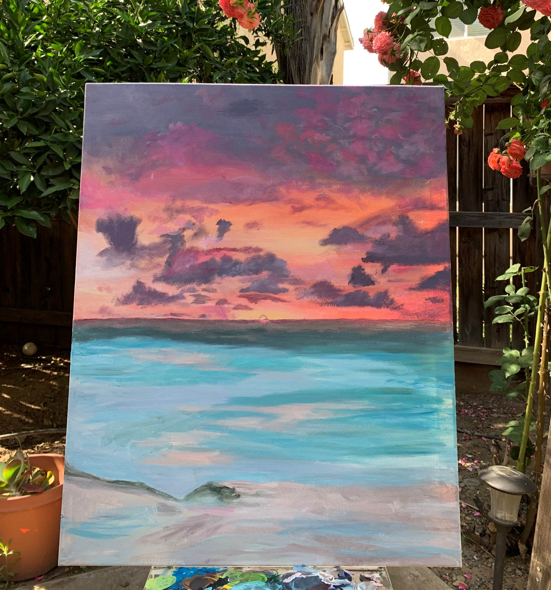 Painting of ocean sunset