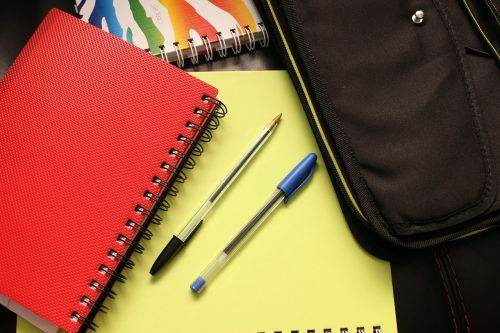 various notebooks and supplies for organizing