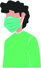 Graphic of person wearing mask
