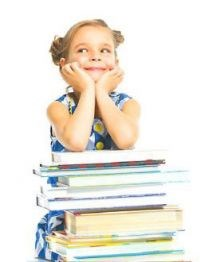 Child leaning on books
