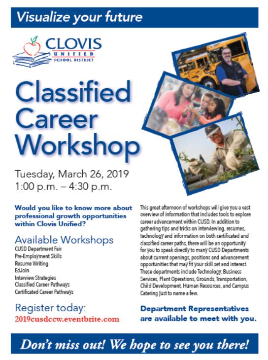 Classified Career Workshop flyer