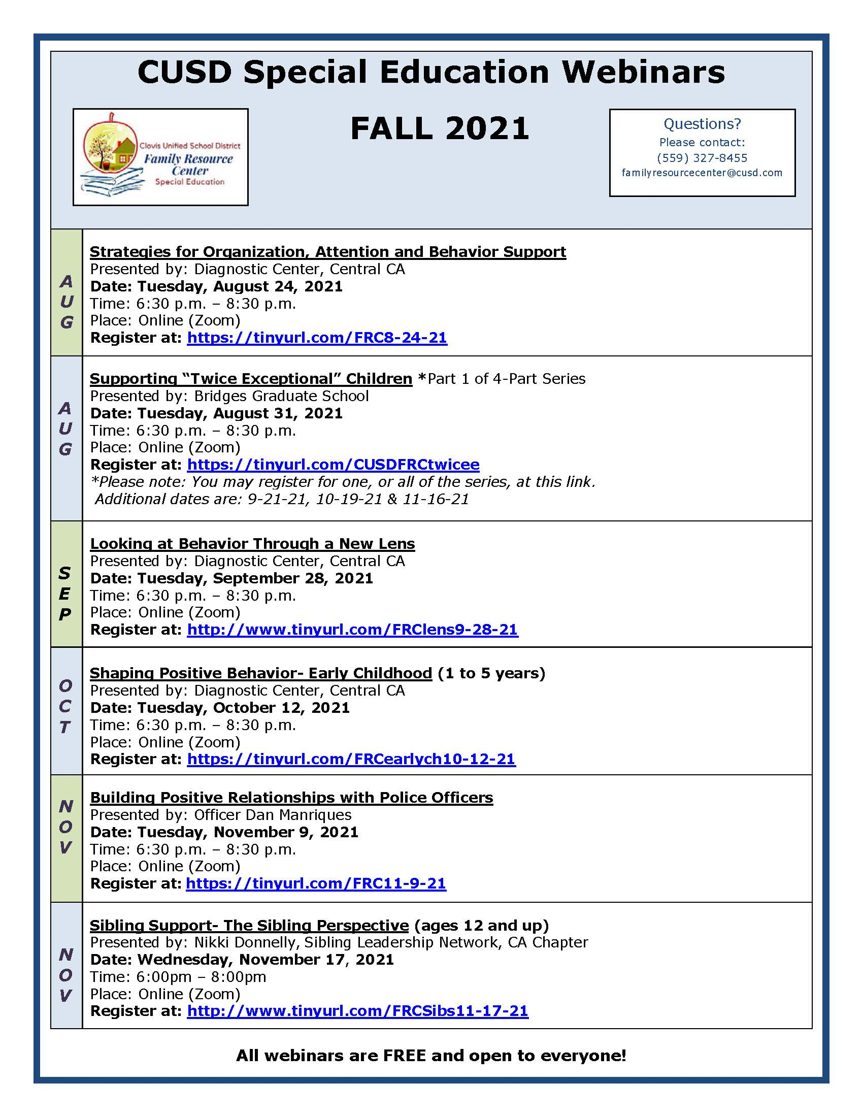 Picture of CUSD Family Resource Center Fall calendar. Download RTF for details.