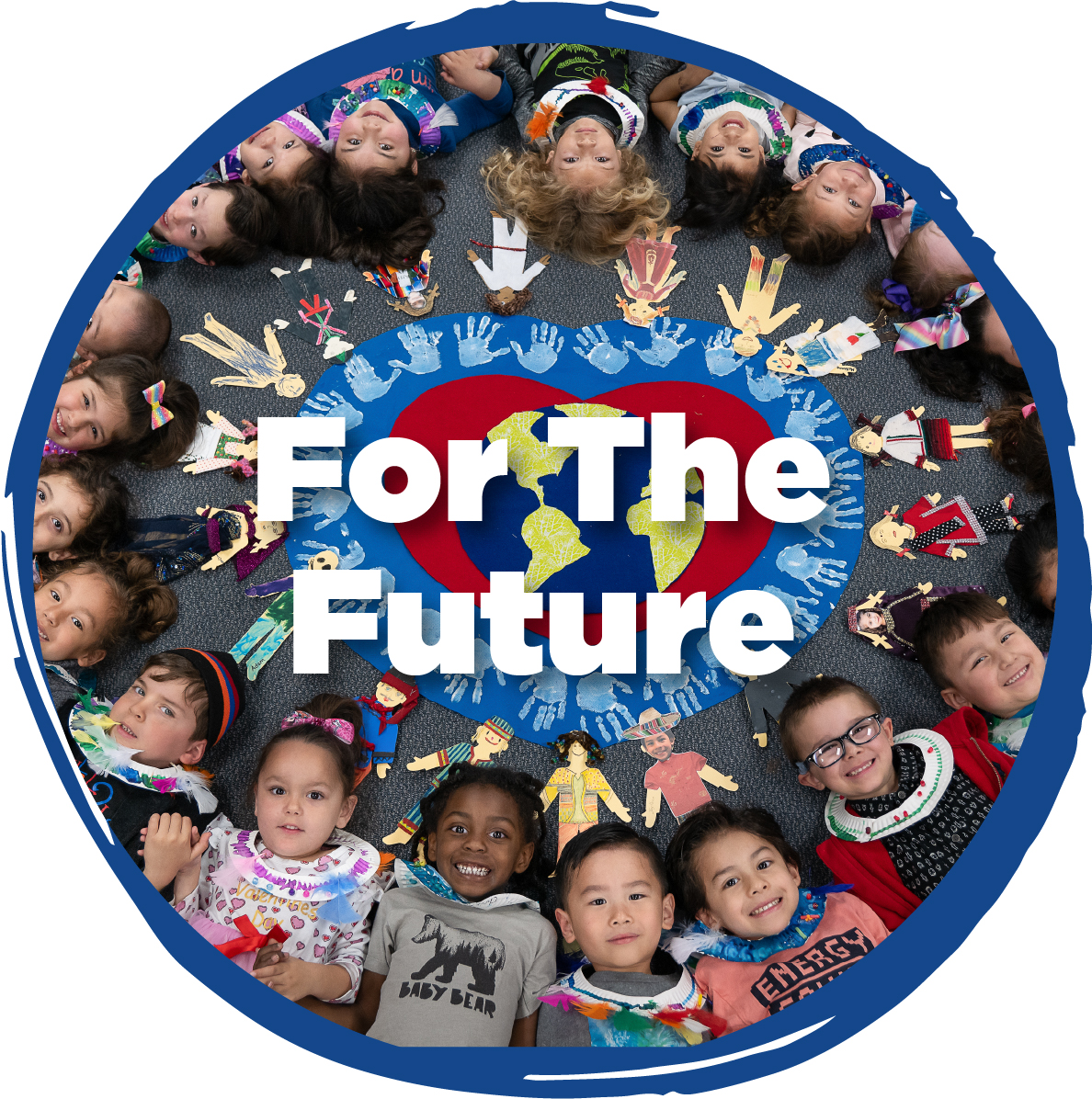 """""""Room for the Future - Circle of young children around a heart"""