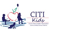 CITI Kids logo clip art drawing of a red apple on top of a stack of blue books with 3 shadows of three small children